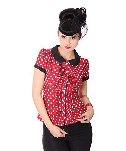 SugarShock Leonice 50er retro Bubikragen Polka Dots Rockabilly Plissee Puffärmel Bluse -