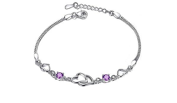 Wicemoon Damen Armband mit Lila Kristall Silber Herz Anh/änger Armkette Schmuck