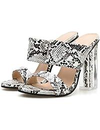DANDANJIE Zapatillas de tacón Alto para Mujer Zapatillas de tacón Grueso de  imitación de Piel de 60e4b807f53f