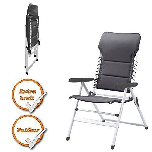 Chaise de camping avec reste élevé, env.. 52x43x50cm, lumière Lounge Chair, rembourré de chaise (Couleur: anthracit)