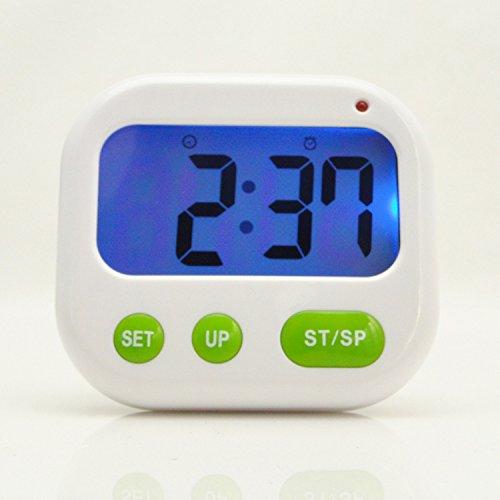 Sdfaw Vibrador despertador dormitorio alarma electrónica vibración silenciosa alarma estudiantes luminoso silencio portátil alarma reloj temporizador,Blanco
