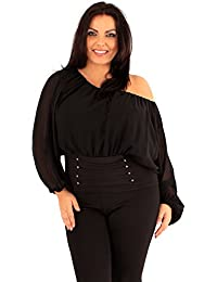 Xclusive Collection New Ladies Plus Size Corset Hem Long Sleeve Chiffon Blouse Gypsy Top 18-24