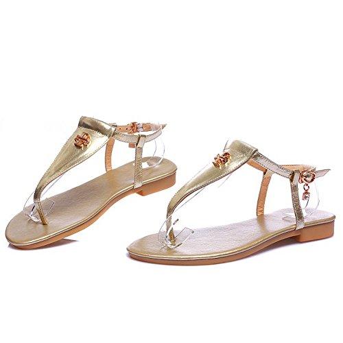 TAOFFEN Damen Bohemia T-strap Flip-Flop Flach Thong Sandalen Slingback Shoes 604 Gold