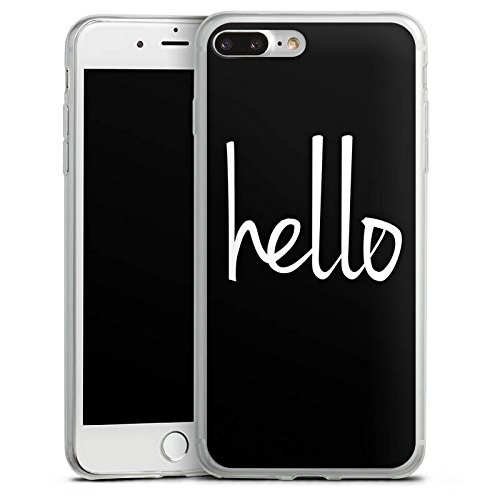 Apple iPhone 8 Slim Case Silikon Hülle Schutzhülle Hello Hallo Schwarz-Weiß Silikon Slim Case transparent