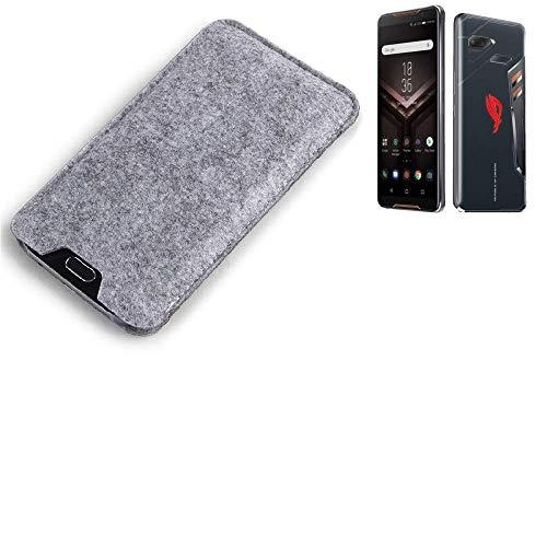 K-S-Trade Filz Schutz Hülle für Asus ROG Phone Schutzhülle Filztasche Filz Tasche Case Sleeve Handyhülle Filzhülle grau