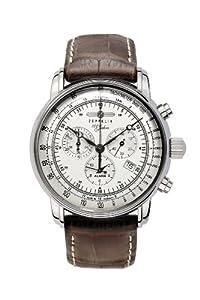 Reloj Zeppelin 100 Jahre Zeppelin de caballero de cuarzo con correa de piel marrón (alarma, cronómetro) de Zeppelin