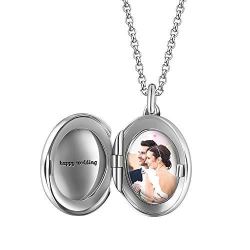Soufeel Personalisiert Foto Anhänger Charms mit Gravur Herzen Damen-Bead 925 Sterling Silber Beads Charms Pendant (mit Kette) Geschenk für Damen