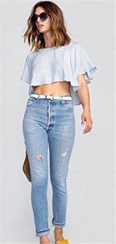 Moda A Righe spacco con spacco sul retro Angel Sleeve a Maniche Corte T-Shirt Maglietta Tee svasato Top blu bianco Rigato Strisce blu bianco Rigato Strisce