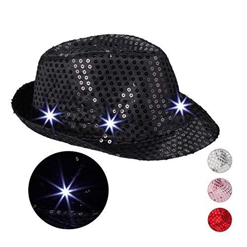 Relaxdays 10023897_46 Pailletten Hut, 6 blinkende LED, mit Glitzer, Männer & Frauen, JGA, Fasching, Partyhut, Einheitsgröße, schwarz, Unisex- Erwachsene,
