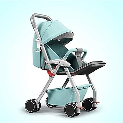 WLYL Cochecito de bebé Puede Sentarse y tumbarse Cochecito Plegable Ligero de absorción de Choque,Green