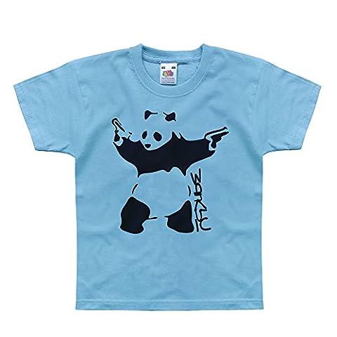 Nutees Banksy Panda With Gun Pistols Art Funny Unisexe Enfant T Shirts - Bleu Clair 14/15 Years