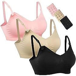 iMixCity Lot de 2/3 Soutiens-Gorge Maternité Allaitement sans Couture avec Extendeurs & Clips (Nude & Rose & Noir, Large)