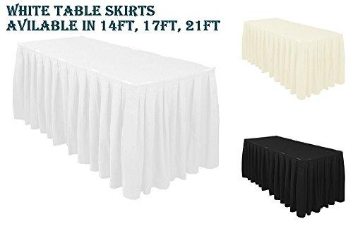 Élégant événements 1 PC Blanc 4,3 m (426,7 cm) Top Jupe de table Polyester avec table Clips Nappe fête de mariage de Noël