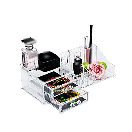 LMM Kunststoff transparent Schublade Kosmetik Fall, Desktop Hautpflege Schmuck Aufbewahrungsbox Display, für Schlafzimmer Schminktisch, Lippenstift, Nagellack, Parfüm