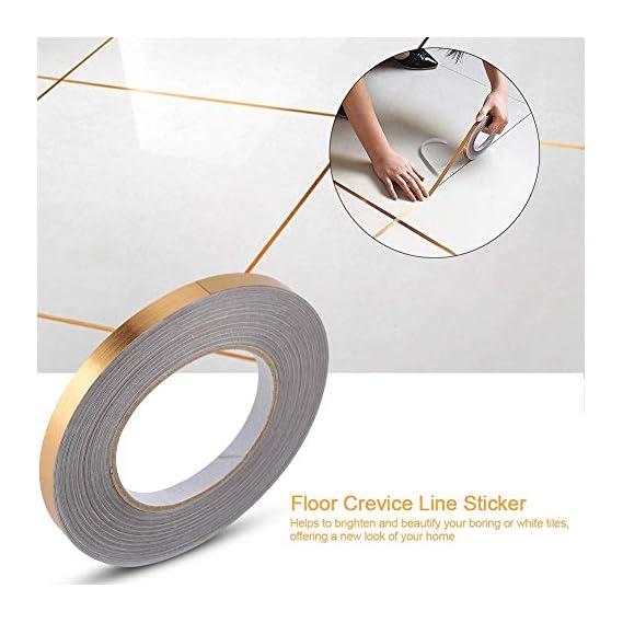 amiciCare Tile Sticker Gap Sealing Tape Silver Foil Self-Adhesive Wall Floor Decor Tape-1cmx5000cm (Gold, Quantity 1)