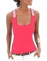 Damen Pailletten Shirt Träger Top Weste Top Oberteil Ärmellos T-Shirt  Tanktop Blouse 454ddfac3d