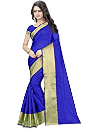 Rudra Sarees Women's Cotton Silk Saree With Blouse Piece (Latest Sale Saree 87, Blue, Free Size)