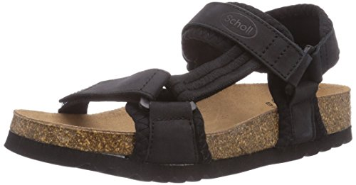 Scholl New Track Black, Sandales Compensées Adulte Mixte Noir (Black)