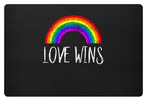 Liebe Und Frieden Kostüm Shirt - generisch Love Wins - Liebe Gewinnt - Peace Frieden Motiv - Schlichtes Und Witziges Design - Fußmatte -60x40cm-Schwarz