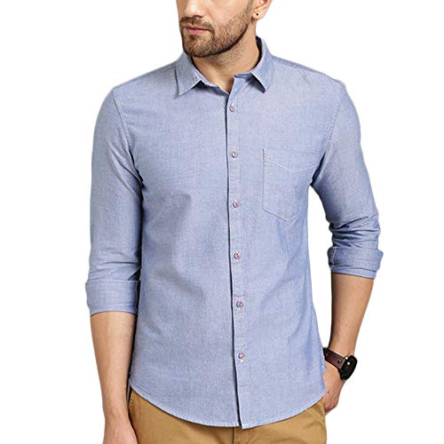 TURMS Stain Repellent Anti Odour The Belize Summer Solid Casual Shirts for Men Light Indigo