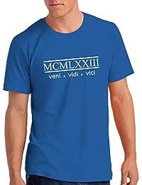 """Da Londra Mens 1973"""" Veni Vidi Vici 45th Birthday T Shirt Gift With Year Printed In Roman Numerals"""