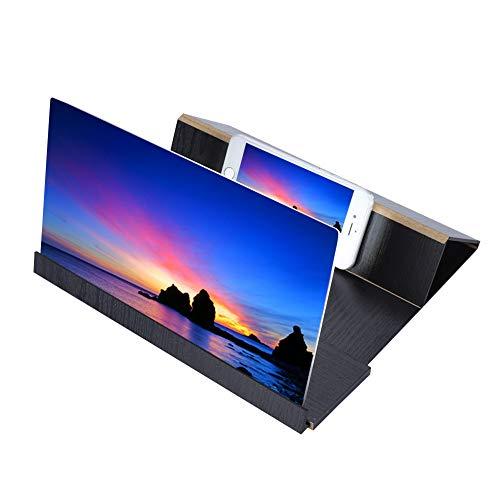 VBESTLIFE 12 '' HD-Bildschirmlupe Smartphone-Lupe, Anti-Strahlung Vergrößerer Bildschirm für Mobiltelefon, Film-Video-Bildschirmverstärker mit Holzmaserung Stehen Stabiler Clip Mobile Video-bildschirm