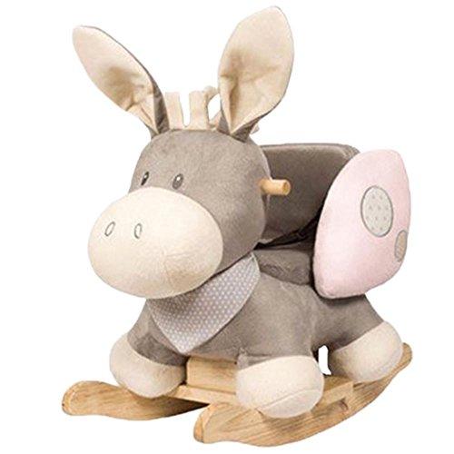 Nattou Schaukeltier ab 1 Jahr mit Gurt, Mädchen und Jungen - Cappuccino Esel rosa