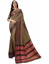 Miraan Women's Cotton Saree With Blouse Piece (Yasmine_Brown)