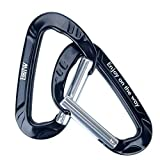 Black-2 Pack : EOTW Aluminum Keychain Carabiner Quickdraw D-Ring Wiregate Carabiner Key Chain Snap Clip Hook Buckle D Shape Key Holder Utility Outdoor Equipment for Hammock Camping