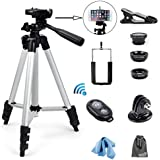 EEEKit 5in1 Selfie Kit For Smart Phone,Universal Aluminum Tripod Mount 50 Inch,Macro/Fish-Eye/Wide-Angle Lens+Remote