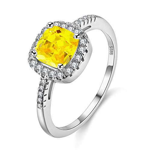 Uloveido Weißgold überzogene Kissen schneiden CZ Kristall Halo Solitaire Verlobungsringe für Frauen, Charm Trauringe (gelb, Größe 57) Y3100 - Gelbe Quadrat Kissen
