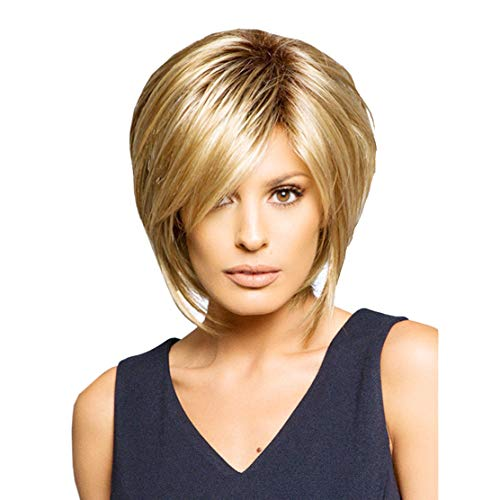 XIANGLIOOD Perücken für Frauen Kurze glatte flauschige braune Mischung blonde hitzebeständige Haarperücke -