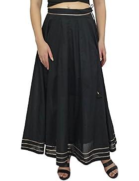 Bimba Medida de la cintura de algodón de la falda maxi Gota Diseño del lazo de la borla de las mujeres