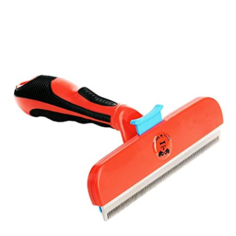Hugooo Dog shedding Brush 4 inch Edge Large Pet Coat Grooming Tool Comb for Large Dogs Cats with Long Hair Deshedding- Red