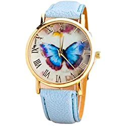 Watch, Tonwalk Womens Fashion Butterfly PU Leather Band Analog Quartz Wrist Watch Sky Blue