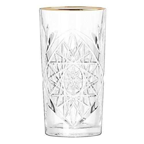 APS Libbey - Hobstar - Goldrand - Longdrinkglas, Highball Glas, Gin Tonic Glas, Saftglas, Wasserglas - 473ml - Kristallglas - Super Angesagt in den coolsten Clubs und Bars Deutschlands