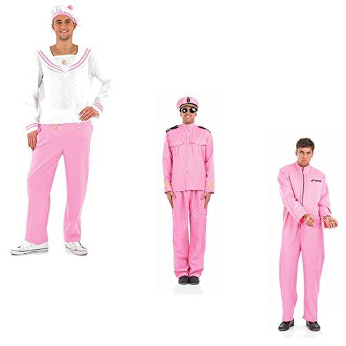 (Herren - verschiedene Kostüme wählbar - Fasching Karneval Junggesellenabschied rosa, Sträfling, Offizier, Matrose, JGA M L XL Kostuem (XL, Modell Matrose))