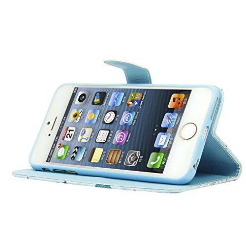 iPhone 6S 6 Hülle,Fodlon® Fashion-Modelle PU-Leder-Mappe Relief Entwurf Schutzhülle mit Ständer und Kartenhalter für iPhone 6 6S-Bananenblätter Bananenblätter