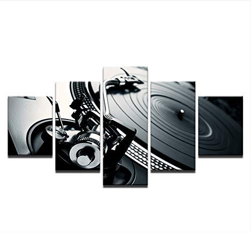 Konsole Zu Hause (sxkdyax Kein Rahmen Bilder von leinwand Hause wandkunst Dekoration 5 stücke Musik DJ Konsole Instrument malerei Nachtclub Mural bar Poster)