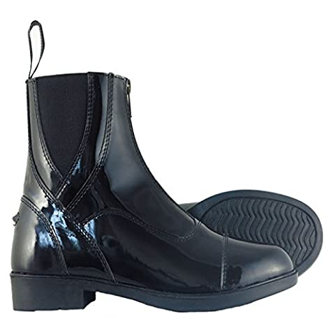 Joy Rider Patent Leather Horse Riding Front Zip Jodhpur Boots in All Colours and Sizes