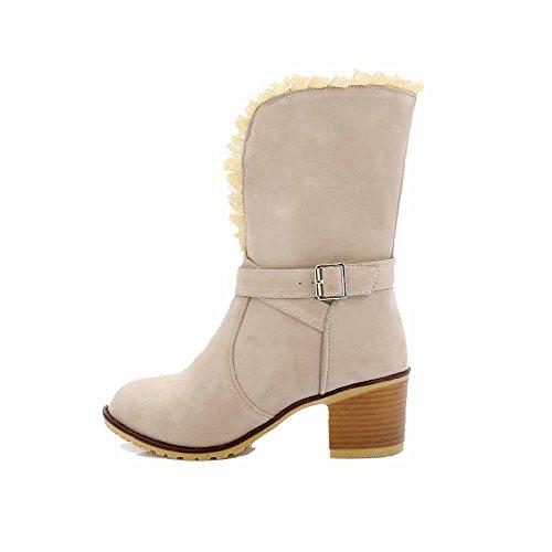 VogueZone009 Damen Rein Mittler Absatz Mitte-Spitze PU Leder Stiefel mit Rivet Set, Cremefarben, 40