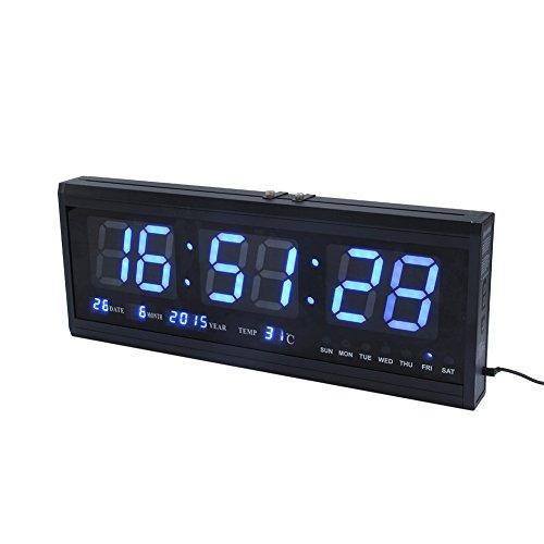 Cocoarm LED Wanduhr Digitaluhr Digital Wecker Dekorative Wanduhr 12/24 Stunden Anzeige Datum Temperatur Anzeige Digital (Blau)