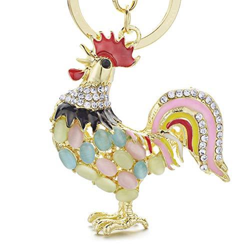 DCFVGB Schöne Schlüsselbund Opal Huhn Rooster Huhn Crystal Bag Anhänger Schlüsselanhänger Schlüsselanhänger Großhandel Viele Bulk-Schmuck