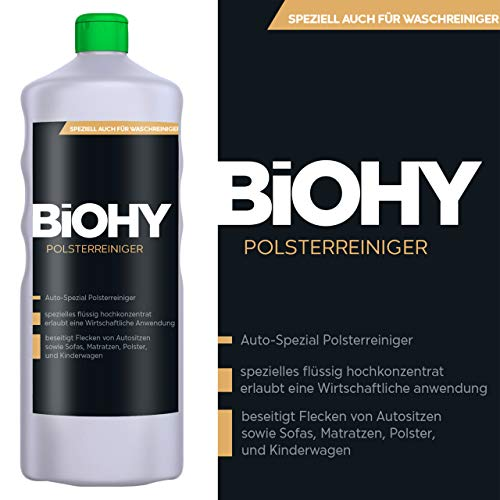 BIOHY Polsterreiniger - 1 Liter Flasche - Ideal für Autositze, Sofas, Matratze, Polster und Kinderwägen, löst hartnäckigen, fest sitzenden Schmutz