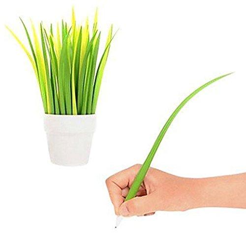 qingsun-stylos-feutre-stylo-a-bille-en-forme-de-herbe-vert-design-unique-12-pcs