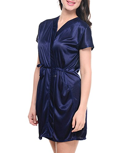 Klamotten Women's Satin Nightdresses (YY67_Navy Blue_Free Size)