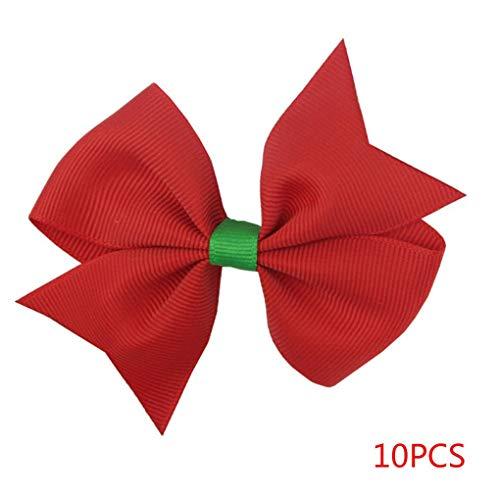 Busirde 10PCS Kind-Mädchen-Weihnachten Rot-Haar-Zusätze Bowknot-Kind-Kind-Partei-Verein-Kopfschmuck-Haar-Band