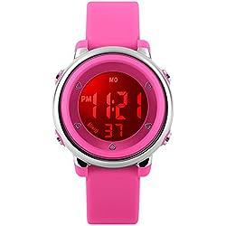 Digital Relojes para niña–5ATM impermeable deportes al aire libre reloj con 7retroiluminación LED/alarma/FECHA