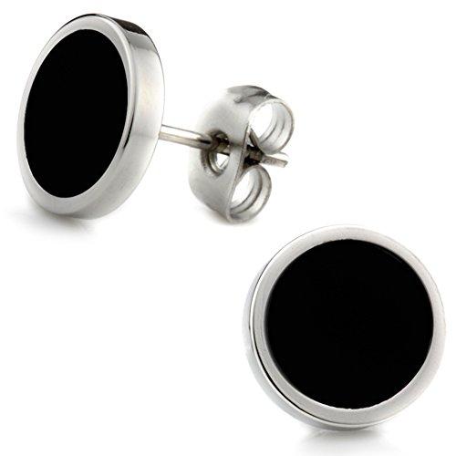 Elegante schlicht klassische runde Ohrstecker Ohrringe Edelstahl Schwarz / Silber 10mm für Damen und Herren