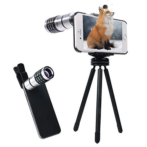 Evershop 10X Teleobjektiv für iPhone -[Support 1500M] Handy Kameraobjektiv Manuelle Fokus Aluminium Teleobjektiv für iPhone 8/ 8Plus/ 7/7Plus/6 Plus 6S Plus/ 6 6S/5 5S